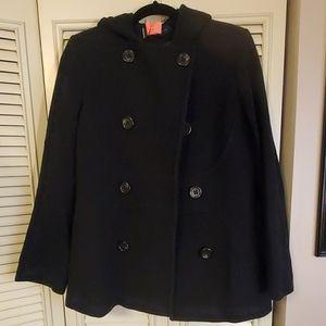 Anne Klein Black Felt Pea Coat